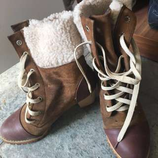 Faux Suede Ankle Boots with Knitted Fur