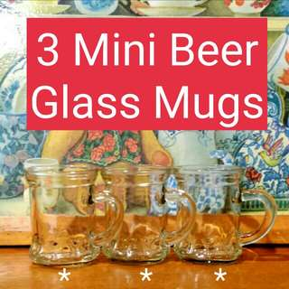 3 Mini Beer Glass Mugs