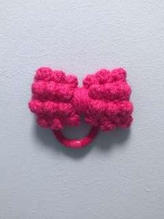 Handmade Fuscia Knotty Bow Hair Tie