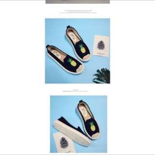 全新俏皮鳳梨鞋黑色、牛仔藍、白色(下單前先詢問尺寸)