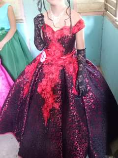 Red & black ball gown