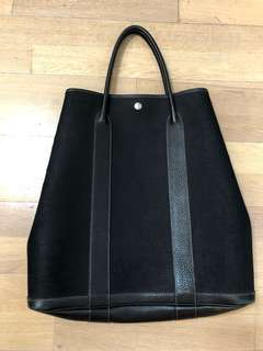 HERMES Garden Party Vertical Canvas Tote Bag with Leather trim  File Mm