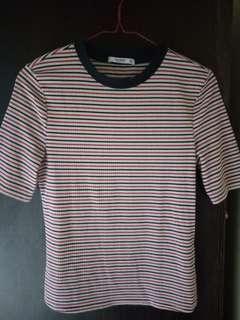 Pull&Bear striped crewneck t shirt