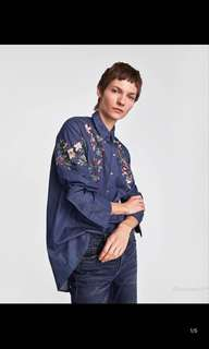 Europe and the United States embroidered embroidery denim liner shirt