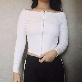 White Zipper Top/Shirt
