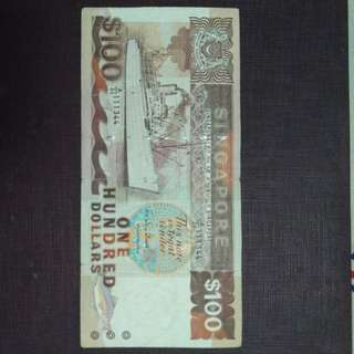 100 dollars singapore old bank notes
