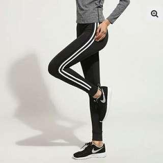 BN Women black strip leggings gym sweatpant