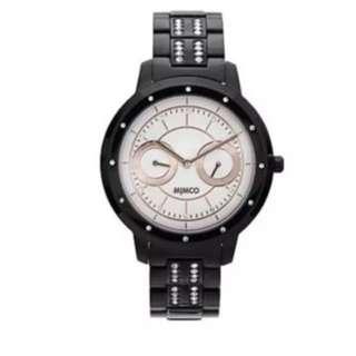 Mimco universa jet black rose gold watch