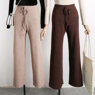 Textured cotton knit pants
