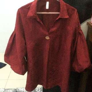 Maroon Button Suede Blouse