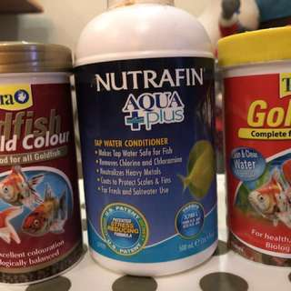 Goldfish food and Water conditioner