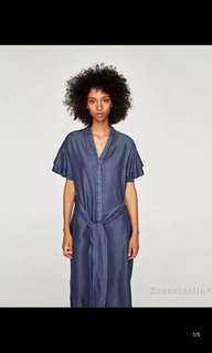 Europe and America stacked sleeves decorated denim dress