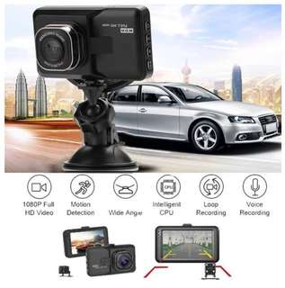 Car Camera - Dual Lens Front & Rear View/Record, Night Vision, Auto Continuous Loop Recording, Motion Detection, etc