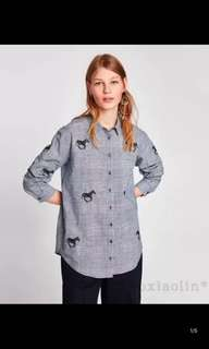 European and American animal embroidery plaid shirt blouse