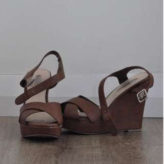 """Court Couture Tan 5.5"""" Strappy Wedges [RRP $45]"""