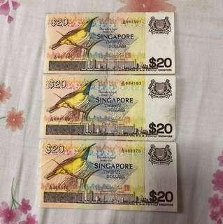 Bird Series $20 Notes, 3 pcs