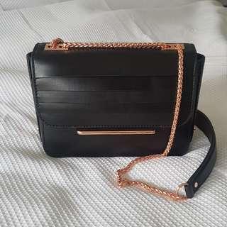 Mimco black and rose gold shoulder bag