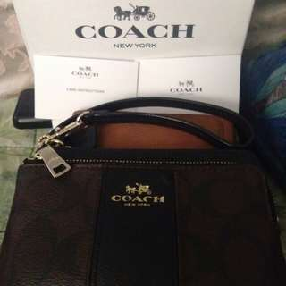Original Coach Double zip wristlet