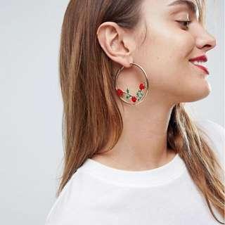 ASOS Rose Detail Hoop Earrings