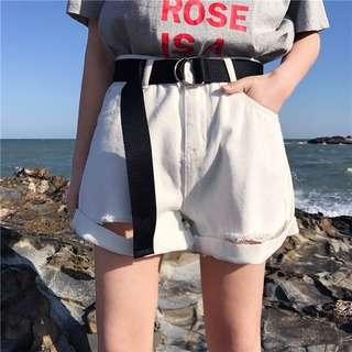3 colors High waist Loose Korean Style Denim shorts Free Belt