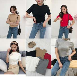 5 colors Short sleeve Simple Round neck Slim Thin T-shirt
