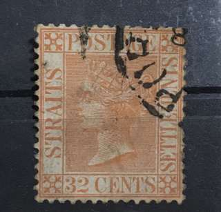 Straits 1883 Queen Victoria 32c orange stamp Used (small fault right side perf)