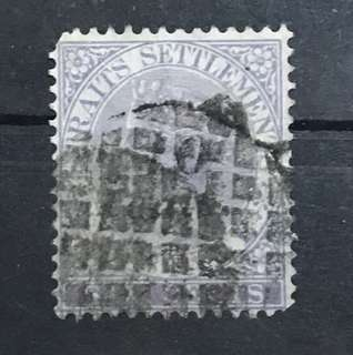 Straits 1880 Queen Victoria stamp 10c Overprint Used