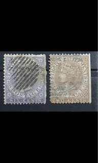 Straits 1867-1872 Queen Victoria stamps 2v WATERMARK CC (faults)