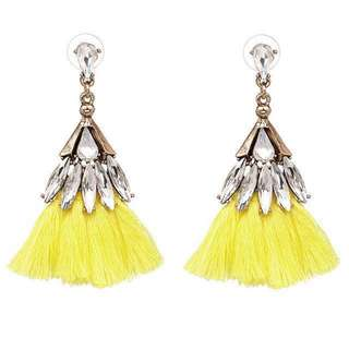 BN Instock Yellow, Baby Pink and Icy Blue Rhinestone Tassel Earrings