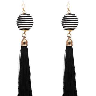 BN Instock Black and White Tassel Earrings