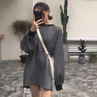 Ulzzang Loose Long Sleeve Stripes pullover