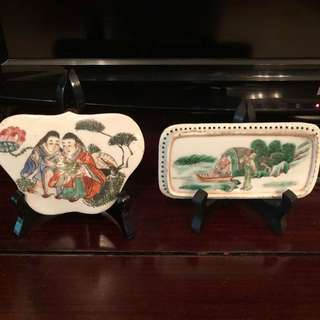 Old hand painted porcelain fragment