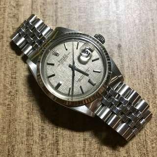 Pre-owned Rolex Grey Sigma Linen 1601 Datejust w 62510/55 Jubilee Bracelet