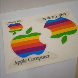 Vintage Apple Rainbow Logo Stickers and Decals