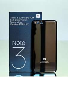 Xiaomi 小米 Mi Note 3, 6G RAM 64G ROM,  Black Global Version.