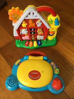 vtech laptop and farm barn toys