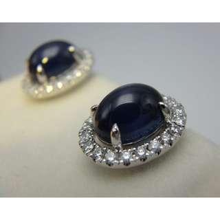 CHOW TAI FOOK 周大福 18K白金 蛋形藍寶石伴鑽石 耳環一對