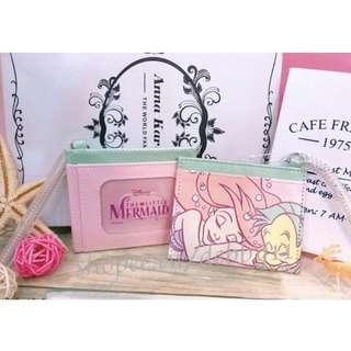 小美人魚票卡夾 彈簧吊掛 皮質 迪士尼 日本 正版授權 證件套 票卡套 卡套 愛莉兒 艾莉兒