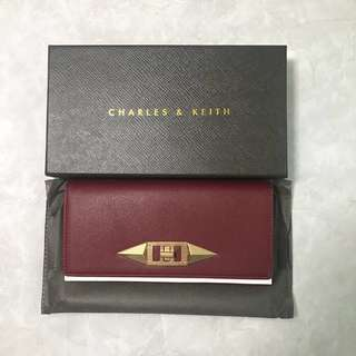 (Authentic) Charles & Keith Burgundy fold over wallet
