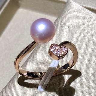 Natural freshwater pearl ring.