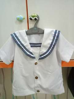 Sailor Suit White Blue for 4 year old