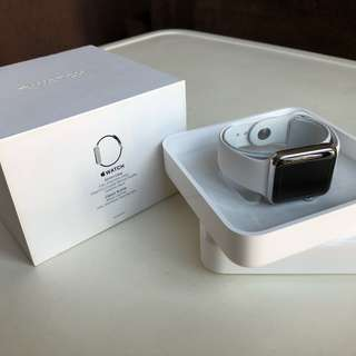 Apple Watch 42mm Stainless Steel with NEW soft white sport band (1st gen)