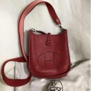 HERMES rouge clemence H evelyne TPM bag