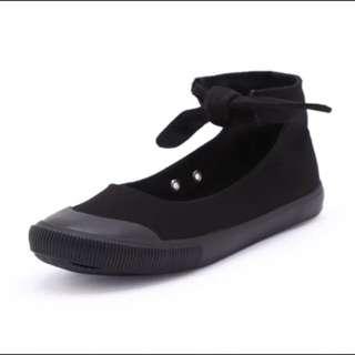 蝴蝶結綁帶低幫帆布鞋女春夏透氣休閒鞋