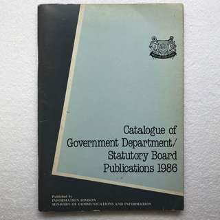Vintage ! Catalogue of Government / Statutory Board Publication 1986