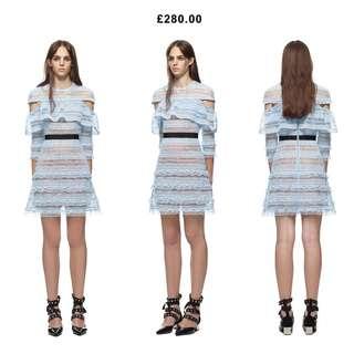 self portrait stripe grid mini dress