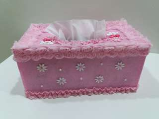 Pink Flowery Felt Tissue Box Cover