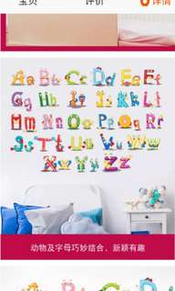 26 Alphabet English letters stickers English words cartoon animal wall stickers children's room kindergarten classroom murals self-adhesive Home decor