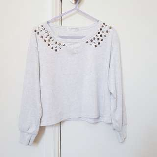 Grey Studdee Crop Jumper