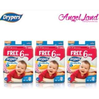 SHOCKING DEAL : Drypers Wee Wee Dry S82+6/M74+6/L62+6/XL50+6/XXL40+6 (3 pack)